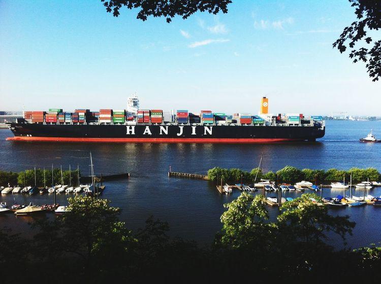Ship Elbe Blankenese Sunny Day