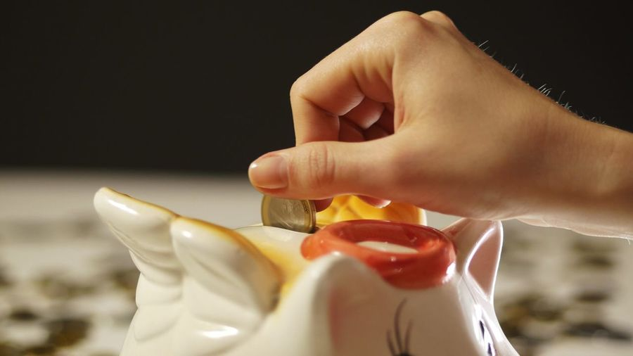 Close-Up Of Hands Putting Coin In Piggy Bank