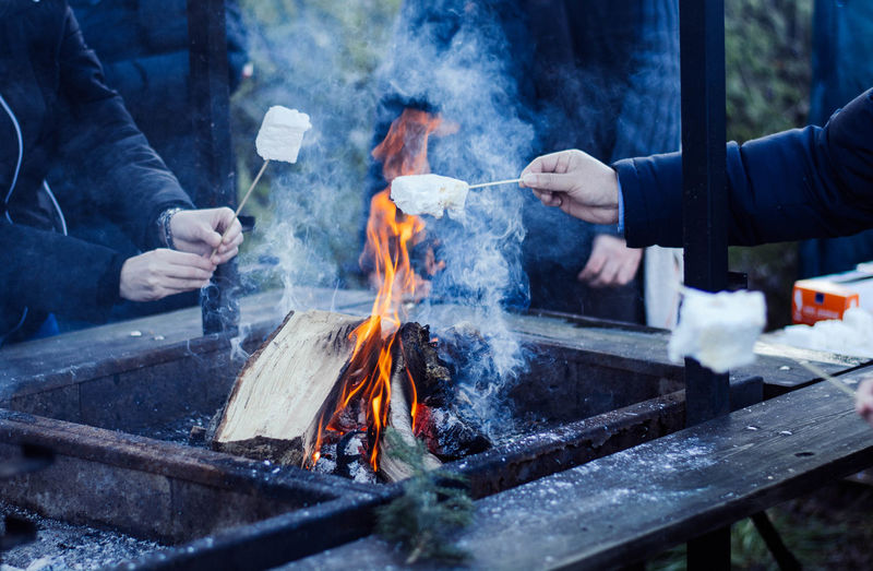 Cropped image of people preparing food over barbecue grill