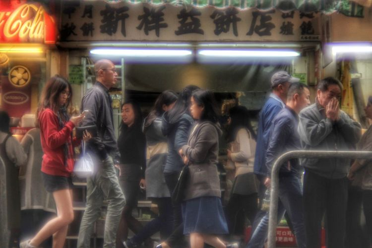 Nostalgic Hong Kong Series - I was born in this city where I no longer call home, yet the nostalgic part of the city is always attractive. Using a Canon FD lens to capture the moment enchance the mood. Old Street Vintage Style Hong Kong NostalgicHongKong The Street Photographer - 2018 EyeEm Awards Hong Kong Architecture Urban Streetphotography Crowd City Illuminated Women Store Window Retail Display Window Shopping Shop