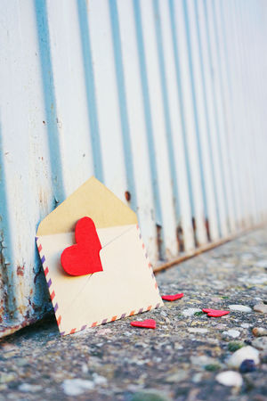 Paper No People Day Selective Focus Close-up Still Life Creativity Outdoors Heart Shape Focus On Foreground Art And Craft Red Footpath Wood - Material Shape City Built Structure Surface Level Blank Valentine's Day  Valentine's Day - Holiday Card Love Envelope Backgrounds