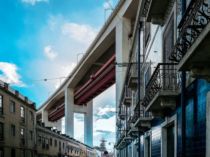 under the 25 april bridge 25 April Bridge Portugal Travel Under The Bridge Architecture Azulejos Building Exterior Built Structure City Cloud - Sky Day Flyover Low Angle View Lx Factory No People Outdoors Sky Street Streetphotography Travel Destinations