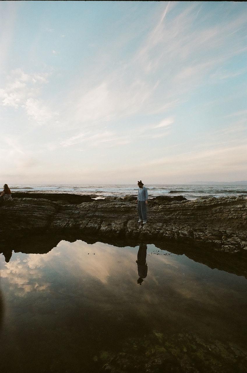 MAN STANDING ON BEACH AGAINST SEA