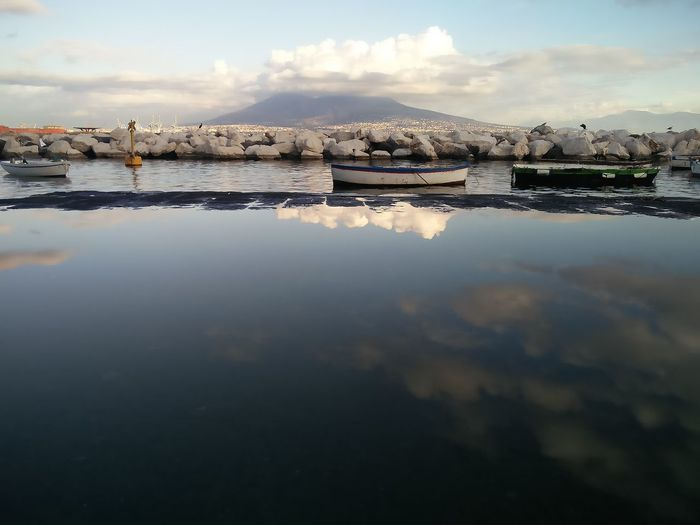 Take a look at yourself Napoli Naples Vesuvio Amore Mauryhappy Gratitude Water Reflections Reflections Riflessi Riflessi Sull'acqua EyeEm Selects Reflection Cloud - Sky Sky Water No People Outdoors Day Nature Sea Scenics Tranquility Shades Of Winter