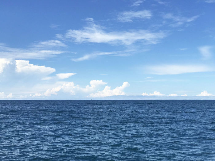 ocean, sea, Peaceful seascape horizon and blue Sky with clouds Sea Water Sky Scenics - Nature Blue Cloud - Sky Seascape Day Nature No People Horizon Waterfront Horizon Over Water Tranquility Tranquil Scene Beauty In Nature Idyllic Ocean Andaman Andaman Sea Calm Stunning View Peaceful Navy