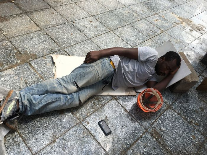Tired Hardworking Africa Lifetime For Better Life Sleeping Granite Black Color Construction Dead Is Close