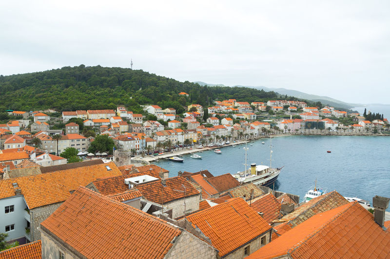 Harbor of Korcula town, Korcula island, Croatia Beautiful Croatia Harbor Korčula Adriatic Sea Architecture Building Exterior Built Structure Cruise Day High Angle View Island Korcula Island No People Outdoors Port Residential Building Residential District Roof Sail Town Travel Destinations Visit Croatia Yacht