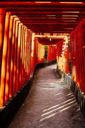 View of empty corridor in temple