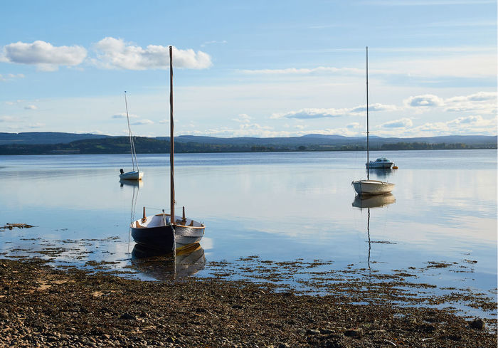 A calm Findhorn Bay. Calm Moray Scotland Yachts Bay Beach Boats Clouds & Sky Findhorn Morayshire Reflections