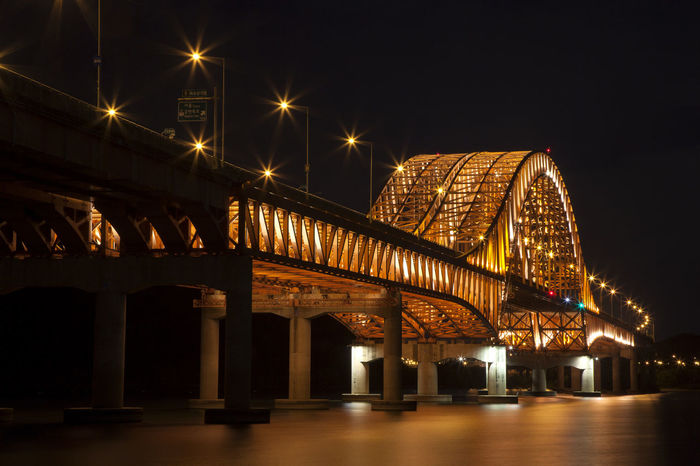 Arcade Arch Arched Architectural Column Architecture Banghwadaegyo Bridge Bridge - Man Made Structure Built Structure City City Life Connection Elevated Road Engineering Han River Hangang Park Illuminated In A Row Long Low Angle View Night No People Outdoors River Transportation