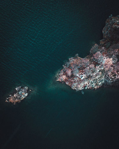 part of the beautiful Lake Sils from above Water Sea Nature Beauty In Nature No People High Angle View Scenics - Nature Rock Tranquility Outdoors Aerial View Tranquil Scene Underwater Rock - Object Waterfront Idyllic Day Land Solid Turquoise Colored Marine Dronephotography DJI Mavic Pro