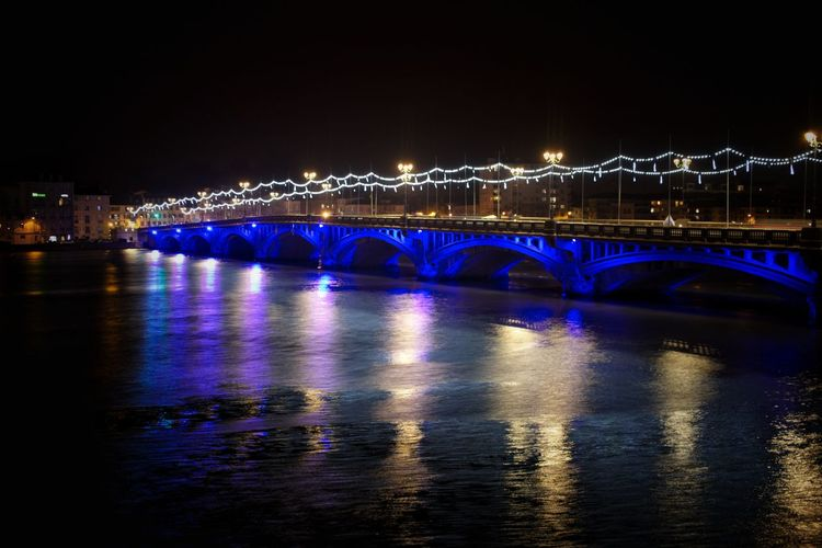 City Cityscape Illuminated Water Urban Skyline Bridge - Man Made Structure Blue River Reflection Long Exposure