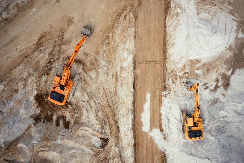 Aerial view of excavator working in construction site