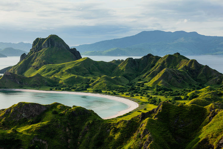 Green-capped mountains of padar island