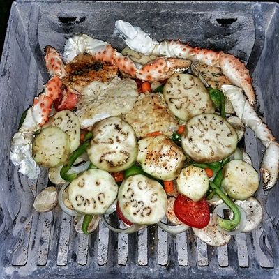 Things are getting real serious on the Grill Grilling Seafood Scallops kingcrablegs eggplant potatoes onions greenpeppers carrots tomatoes dinner @bizamm247