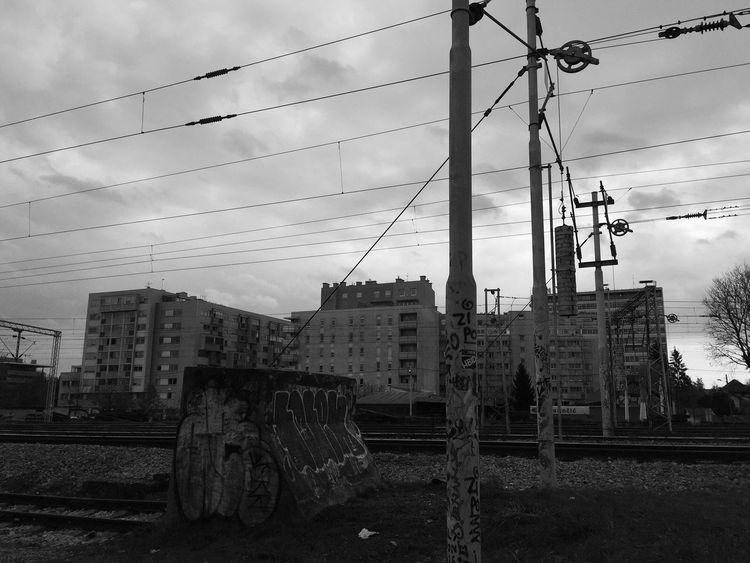 Neighbourhood around Koturaska and Bednjanska street, viewed from Botanical park and railway tracks, Zagreb, Croatia, 2016. Zagreb Croatia Cityscape Railroad Track Railroad Architecture Landscape Power Line  Built Structure Architecture Fuel And Power Generation