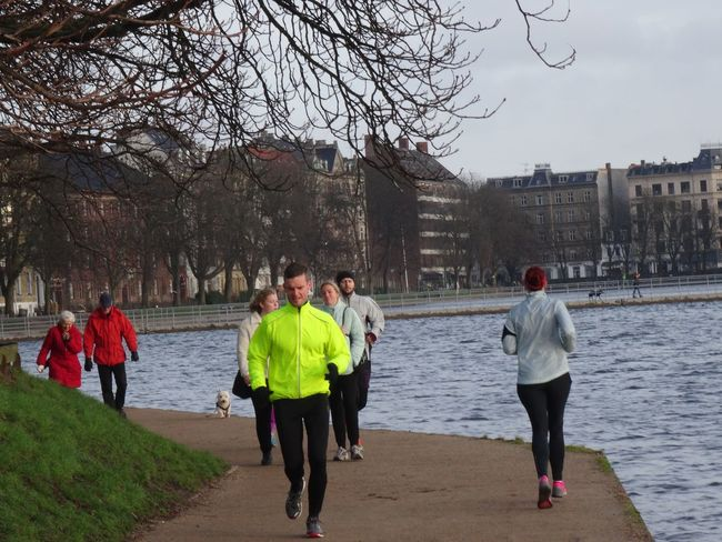 """Danish joggers"" City City Life Copenhagen, Denmark Joggers Lifestyles Outdoors Path Pathway Running Waterfront"
