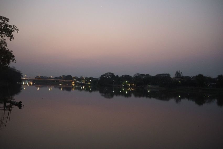 Kokriver River Riverside Chiang Rai Thailand Sunset Twilight