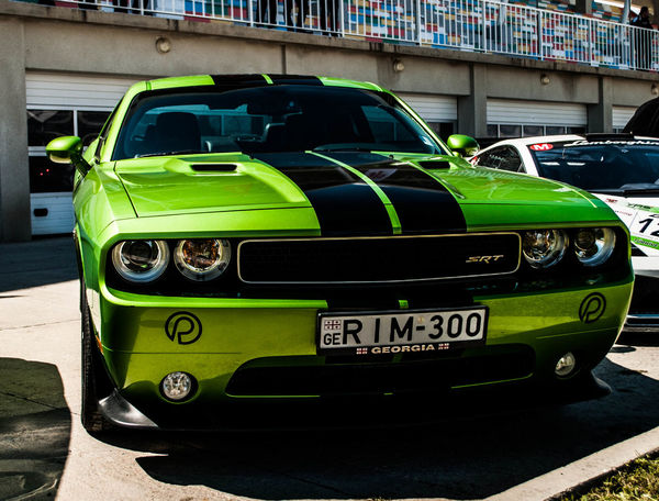 Challenger Car Close-up Green Color Land Vehicle Mode Of Transport No People Transportation