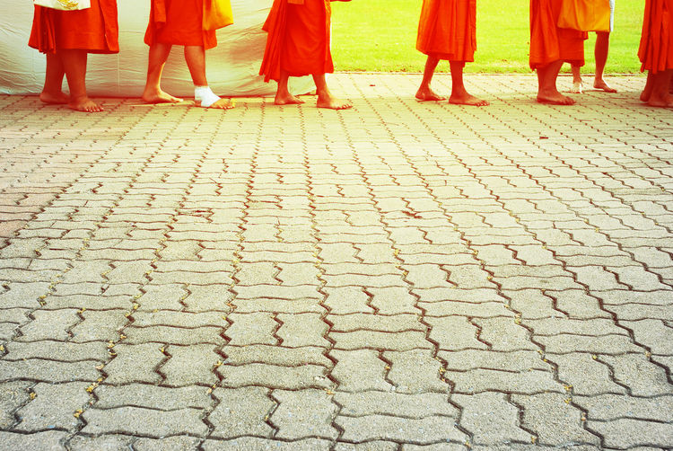 Monks march on cement floor in the morning for receive gifts and soft orange light for copy space. Adult Boys Child Childhood Day Girls Human Body Part Human Leg Low Section Monks Monks In Temple Monks Making Merits Outdoors People Real People Standing Togetherness Women