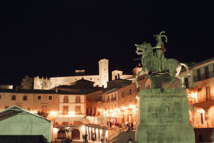 Architecture Art Built Structure City Extremadura Illuminated Monument Night No People Pizarro SPAIN Tourism Travel Destinations Trujillo