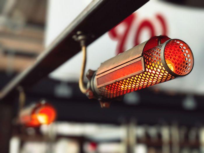 Close-up of illuminated steampunk lamp