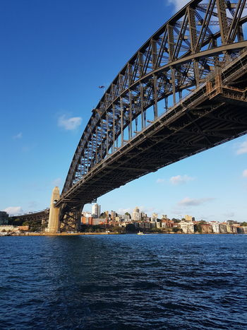 Sydney Harbour Bridge Bridge - Man Made Structure Architecture Travel Destinations Connection Travel Outdoors Built Structure Sky City Water Sea Blue No People Day Clear Sky Famous Tourist Attractions Cityscape Australia Sydney Photography Be. Ready. Steel Bridge Landmark EyeEmNewHere Travel Photography Awe