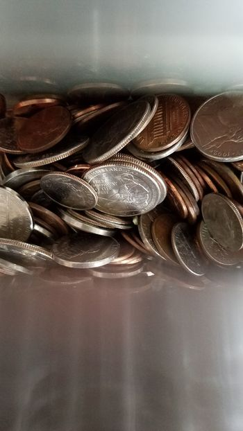 Indoors  Close-up Table Life Events No People Day Currency Loose Change Money Coins Saving Money Piggy Bank