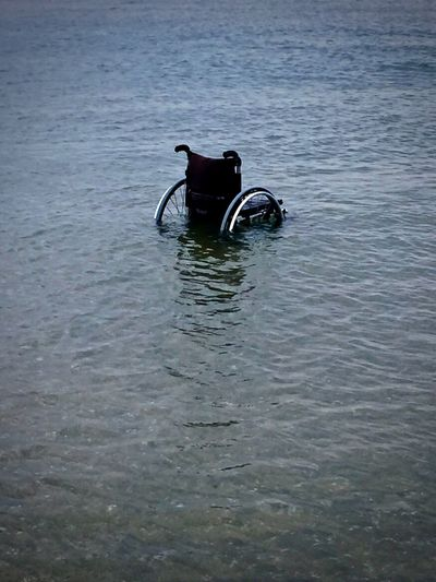 Lonely in the Sea Lonely Day High Angle View In The Sea Nature No People Outdoors Sea Tranquility Water Waterfront Wheelchair