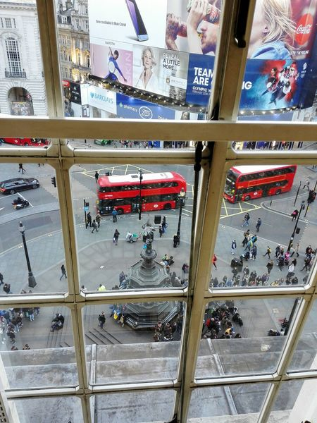 City Piccadilly Circus London London Bus London Buses London Lifestyle Street Photography Outdoors Famous Landmark Lillywhite Building London Window View Window Window Frame