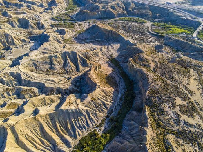 High angle view of dramatic landscape