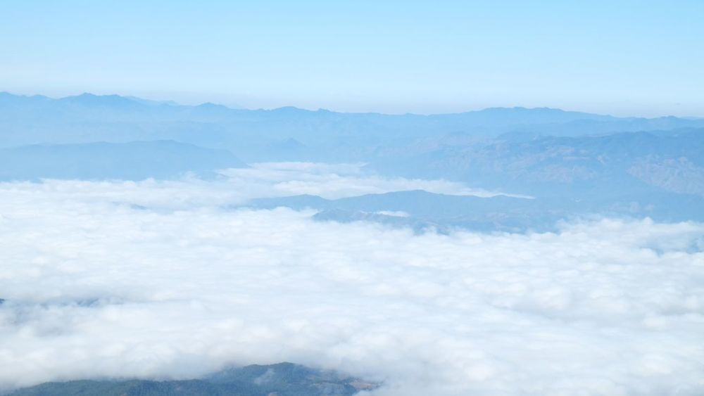 Cloud - Sky Landscape Sky Blue Heaven Beauty In Nature Environment Cloudscape Scenics Beauty Nature Mountain Fog Natural Disaster Outdoors No People Day