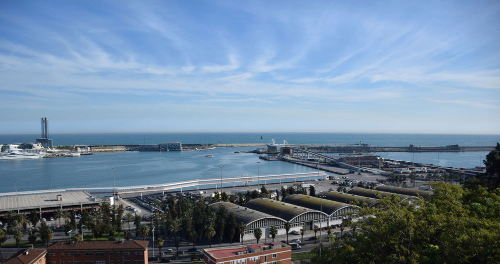 Panoramic view of Barcelona's port Harbor Outdoors Horizon Over Water Nautical Vessel Mode Of Transportation Horizon Cityscape Sea City Water Cargo Mediterranean  Industrial Building  Logistics Port Day High Angle View Transportation