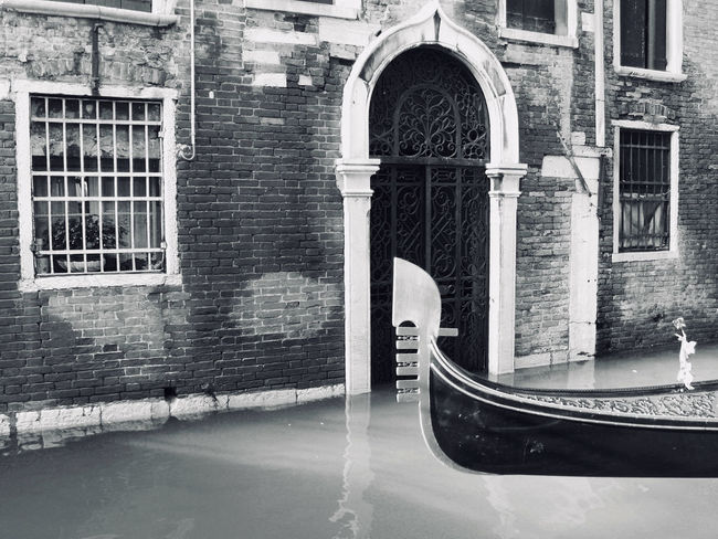 Gondola Black & White Gondola Morbidity Venice Canals Arch Architecture Black And White Blackandwhite Boat Building Exterior Built Structure Day Historic No People Outdoors Venice Water Window Black And White Friday