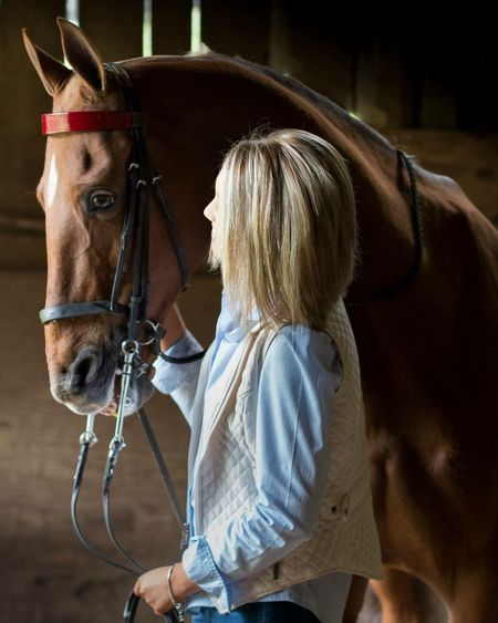 Close-Up Of Woman And A Brown Horse
