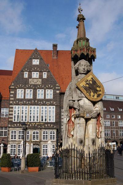 statue of Bremen Roland on market square Architecture Bremen Bremen Roland City City Life Day Europe Germany Incidental People Landmark Market Square Roland Square Statue Statue Of Roland Street Tourism Travel Destinations