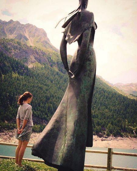 Mountain Standing Young Women Statue Lake Landscape EyeEmNewHere