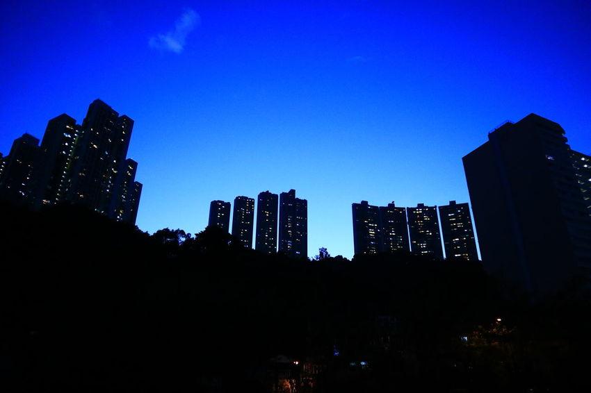 Sky Blue Silhouette City Night No People Architecture Cityscape Hong Kong Tadaa Community Urban Exploration Fotan Village Fotan Nightphotography Night Photography Night View Welcome To Black The Architect - 2017 EyeEm Awards