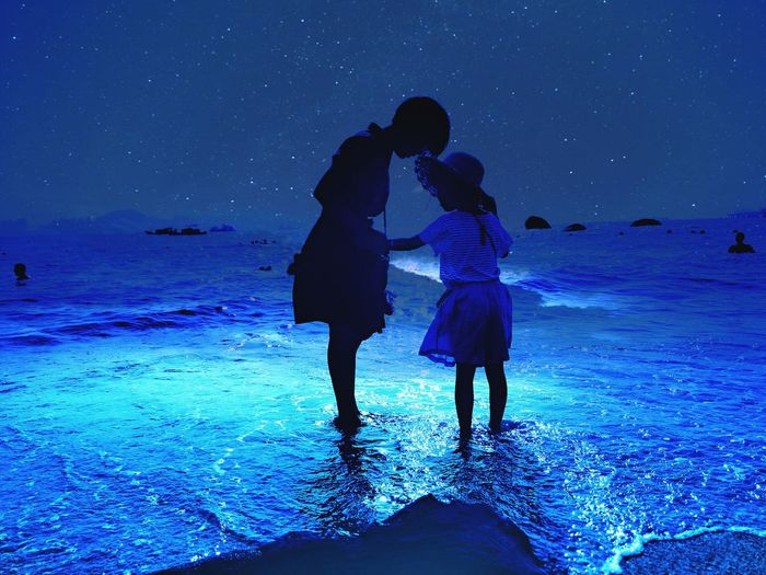 Togetherness Night Silhouette Sea Check This Out Star - Space Blue Sky Outdoors Eyeemphoto Eyeemphotography From My Point Of View Capture The Moment EyeEm Best Edits EyeEm Best Shots Hi! Taking Photos EyeEm Gallery Hello World People Shore Beach Person People And Places People Photography