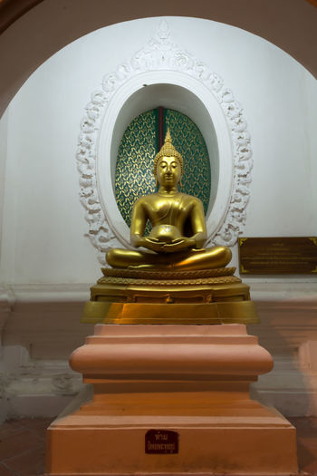 Day Human Representation Indoors  Male Likeness No People Place Of Worship Religion Sculpture Spirituality Statue Thailand Nakhon Pathom Large Group Of People Travel Old Buddha Statue Old Buddha Site Down Buddha Gold Store Close-up Buddha Yellow Night Real People Outdoors