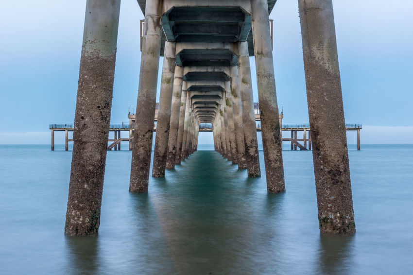 Architectural Column Architecture Built Structure Column Day Diminishing Perspective Horizon Over Water In A Row Nature Pier Pillar Sea Sky SUPPORT Tranquil Scene Tranquility Water Waterfront Wood - Material Wooden Post