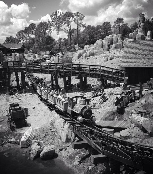Pure fun Outdoors Rollercoaster Big Thunder Mountain Railroad Pure Fun Action Movement Fast Disney Orlando Florida Different Perspective Observer Enjoying Life Family Vacation Happy Shadows & Lights Black And White Track Exhilarating Been There. Done That. Black And White Friday