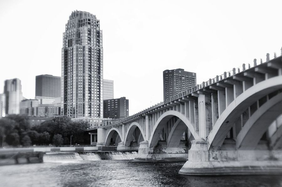 Architecture Bridge - Man Made Structure Skyscraper Water No People Outdoors City Highkey Sonyphotography Blackandwhite Photography White Background Blackandwhite Art Manuallens Minneapolis
