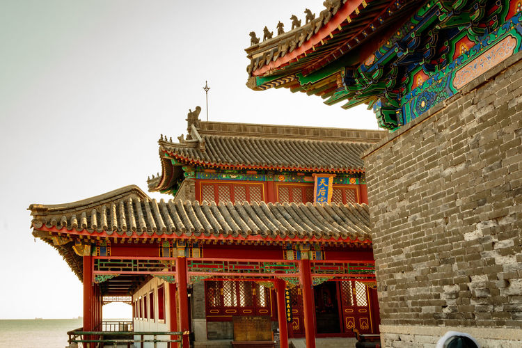 Ancient Architecture Castle Great Wall Hebei Sunlight Tourist Travel Archaeological Attraction Budhism Building China Chinese Fortification Historic History Landmark Military Qinhuangdao Shanhaiguan Site Sky Structure Temple