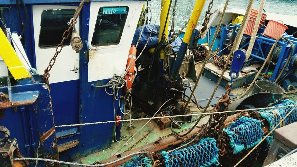 A Close-up of a Fishing / Crabbing Boat. Featuring Fishing Net Day No People Outdoors Bad Condition Transportation Working Boat Mode Of Transport Weymouth Harbour United Kingdom Commercial Dock
