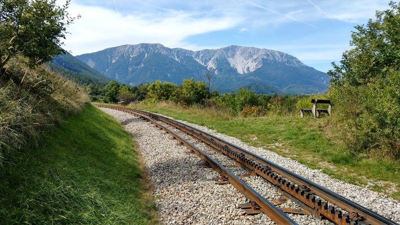 rails to schneeberg austria Zahnradschienen Schneebergbahn Snowmountain Niederösterreichische Kalkalpen Puchberg Am Schnneeberg Puchberg Lower Austria Austria Nature EyeEm Selects Sky Grass