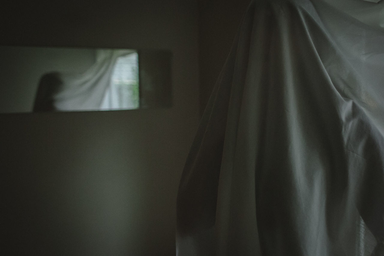 curtain, indoors, drapes, window, one person