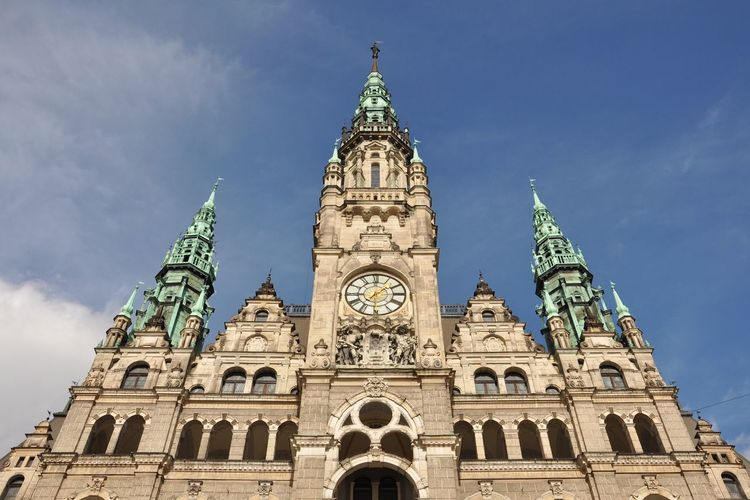 Sky Architecture Building Exterior Low Angle View Religion Built Structure Travel Destinations Place Of Worship Outdoors Spirituality Tower City Day Rose Window Cloud - Sky No People Clock Tower Liberec