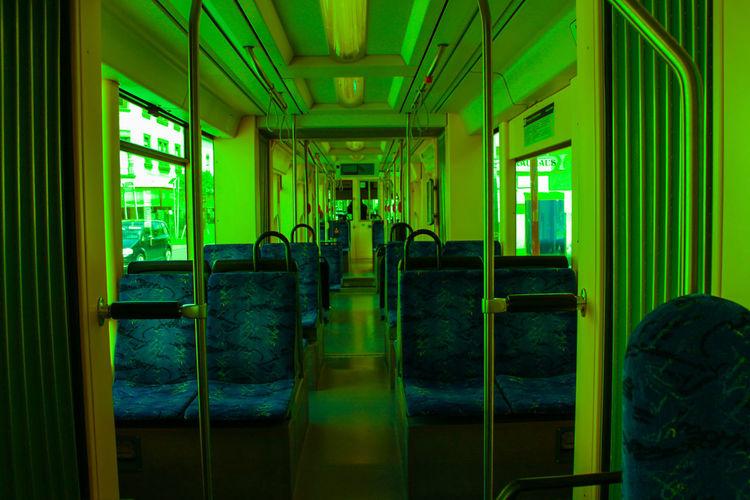 TRAIN Editing Empty Train Tram Close-up Empty Germany Green Color No People Seat Train Train - Vehicle Window
