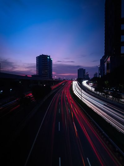 Light trails on highway at night in jakarta